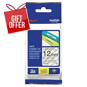 Brother P-Touch TZe Labelling Tape 8M X 12Mm - Black On Clear