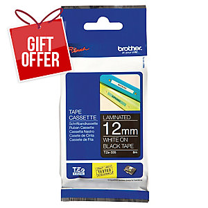 Brother P-Touch TZe Labelling Tape 8M X 12Mm - White On Black