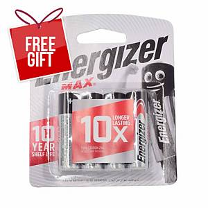 Energizer Max E91 AA Alkaline Battery - Pack of 4