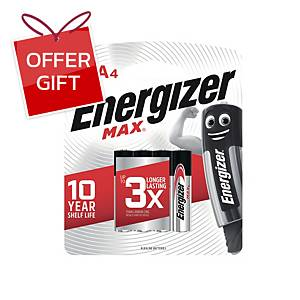 ENERGIZER Max E92 Alkaline Batteries AAA Pack Of 4