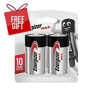 Energizer Max D LR20 Alkaline Battery - Pack of 2