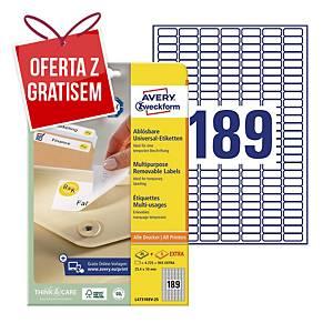 Uniwersalne etykiety usuwalne AVERY ZWECKFORM 25,4x10 mm, białe, 5670 etykiet