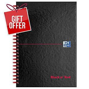 Oxford Blk n  Red A5 Glossy Hardback Wirebound Notebook Ruled 140 Pages Black