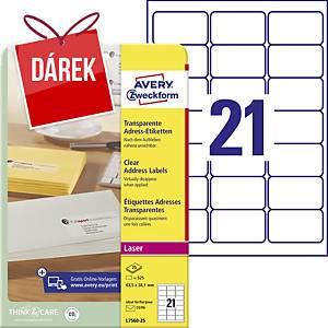 Průhledné adresní etikety Avery Zweckform, 63,5 x 38,1 mm, L7560-25, 525 kusů