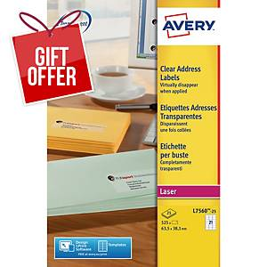 Avery L7560 Label 635 X 381 Mm Transparent - Box Of 525