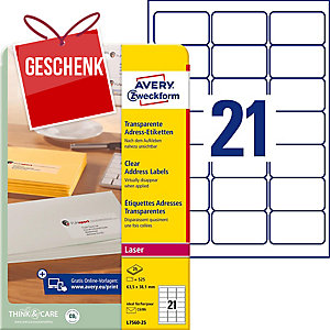 Etiketten Avery Zweckform L7560, 63,5x38,1 mm, Laser, transparent, Pk. à 525 Stk