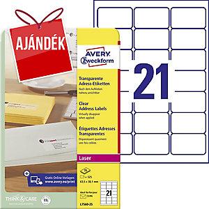 Avery Zweckform áttetsző levélcímkék 63,5 x 38,1 mm, 21 etikett/ív, 25 ív/csomag