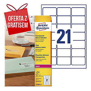 Przezroczyste etykiety adresowe AVERY ZWECKFORM 63,5x38,1mm, 525 etykiet