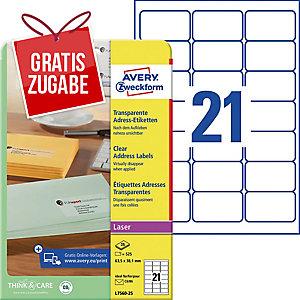 Adress-Etiketten Avery Zweckform L7560-25 63,5x38,1mm transp. 25 Blatt/525 Stück