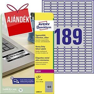 Avery Zweckform ellenálló címke, poliészter, 25,4 x 10 mm, ezüst