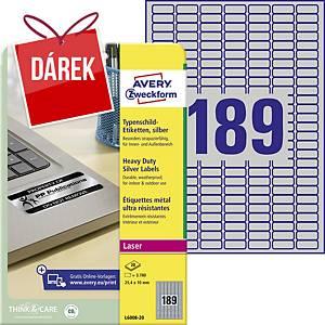 Odolné etikety Avery, polyester, 25,4 x 10 mm, stříbrné, 189 ks/list