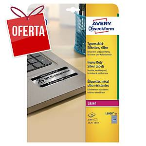 Pack de 3780 etiquetas adesivas Avery L6008-20 - 25,4x10 mm - prateado