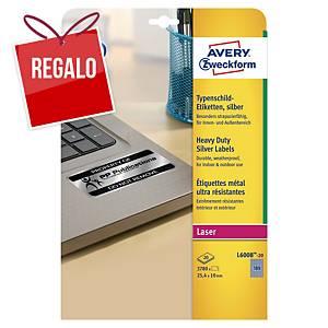 Pack de 3780 etiquetas adhesivas Avery  L6008-20 - 25,4 x 10 mm - plata