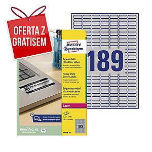Etykiety znamionowe Avery Zweckform, 25,4 x 10 mm, srebrne, 3780 etykiet