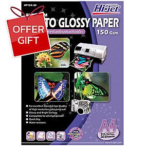 HI-JET PLATINUM PHOTO GLOSSY PAPER A4 150G - PACK OF 20