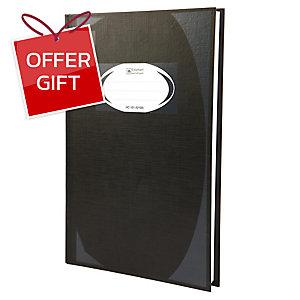 ELEPHANT HC-101 HARD COVER NOTEBOOK 210MM X320MM 70G 100 SHEETS BLACK