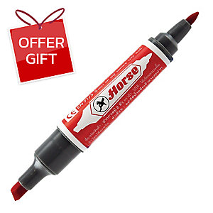 HORSE PERMANENT MARKER BULLET AND CHISEL TIP RED