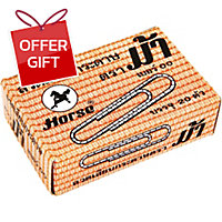 HORSE ROUND PAPER CLIPS 50MM - BOX OF 20