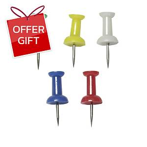 E503 Push Pins Assorted Colours - Pack of 30