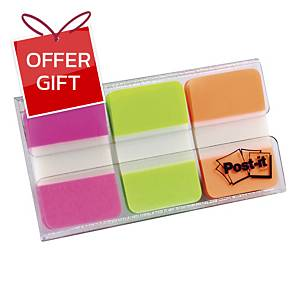 POST-IT INDEX FLAGS STRONG NEON 25MM 22/PACK - PACK OF 3