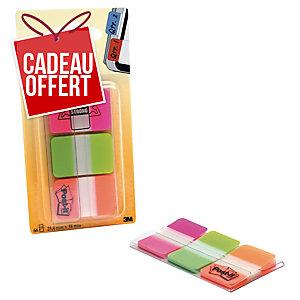 Lot 3 paquets de 22 marque-pages Post-it onglets rigides neon rose/vert/orange