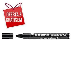 Marker permanentny EDDING 2200 C, ścięta końcówka, czarny