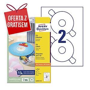 Etykiety na płyty CD/DVD AVERY ZWECKFORM 117 mm, matowe białe, 50 etykiet