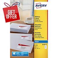 Avery J8160-25  Labels, 63.5 x 38.1 mm 21 Labels Per Sheet, 525 Labels Per Pack