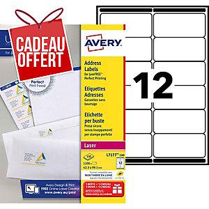 Etiquette adresse Avery - L7177-100 - 99,1 x 42,3 mm - blanche - boîte de 1200