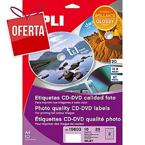 Caixa de 20 etiquetas CD/DVD branca APLI qualidade foto inkjet diâmetro 117 mm