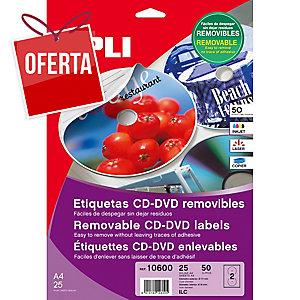 Caixa de 50 etiquetas CD/DVD removível APLI com diâmetro 117 mm