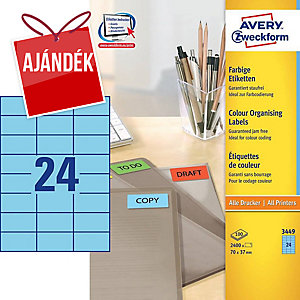 Avery 3449 univerzális etikettek, 70 x 37 mm,kék