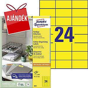 Avery 3451 sárga univerzális etikettek 70 x 37 mm, 24 etikett/ív, 100 ív/csomag
