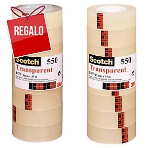 Pack de 8 rollos de cinta adhesiva transparente Scotch 550 - 19mmx33m