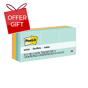 POST-IT 653-AST PASTEL NOTES 1.5  X 2  ASSORTED PASTEL COLOURS - PACK OF 12