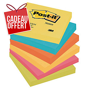 LOT 6 BLOCS NOTES POST-IT COULEURS ENERGIE 76X76MM COLORIS ASSORTIS