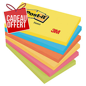 LOT 6 BLOCS NOTES POST-IT COULEURS ENERGIE 76X127MM COLORIS ASSORTIS