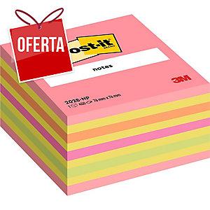 Cubo de 450 notas adesivas Post-it cor rosa neón Dimensões: 76x76mm