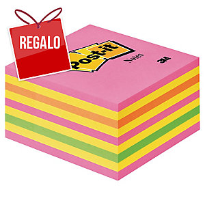 Cubo de 450 notas adhesivas Post-it color rosa neón Dimensiones: 76x76mm