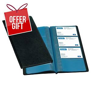 Oxford Black 225 X 125mm PVC Business Card Holder 96 Card Capacity