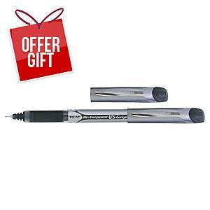 Pilot V5 Grip Hi-Tecpoint Roller Ball Black Ink Pens 0.3mm Line Width- Box of 12