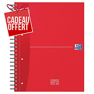 CAHIER OXFORD OFFICE EUROPEAN BOOK A4+ 240 PAGES 5X5 CARTE RIGIDE SPIRAL