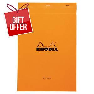 RHODIA 19 STAPLED NOTEPAD A4+ PLAIN