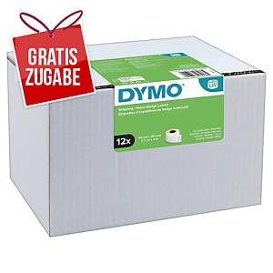 Dymo Etiketten in Rolle, 101 x 54 mm weiß, Packung mit 12 Rollen
