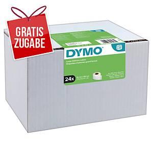 Dymo Etiketten in Rolle, 89 x 36 mm, weiß, Packung mit 24 Rollen