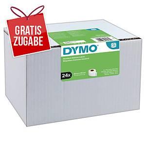 Dymo Etiketten in Rolle, 89 x 28 mm, weiß, Packung mit 24 Rollen