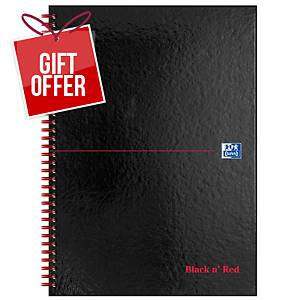 Oxford Blk n  Red A4 Glossy Hardback Wirebound Notebook Ruled 140 Pages Black
