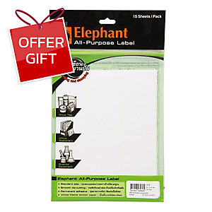 ELEPHANT A16 LABEL 50MM X 100MM 6 LABEL/SHEET - PACK OF 15 SHEETS