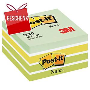 3M Post-it® 2028 Klebeblöcke im Würfelblock 76x76mm, grün, Pack. 450 Blatt
