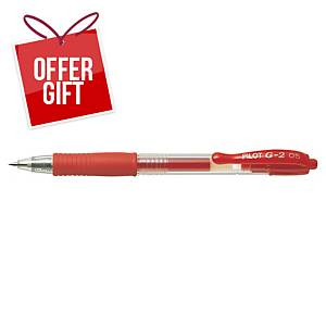 PILOT G2 RETRACTABLE GEL PEN 0.5MM RED